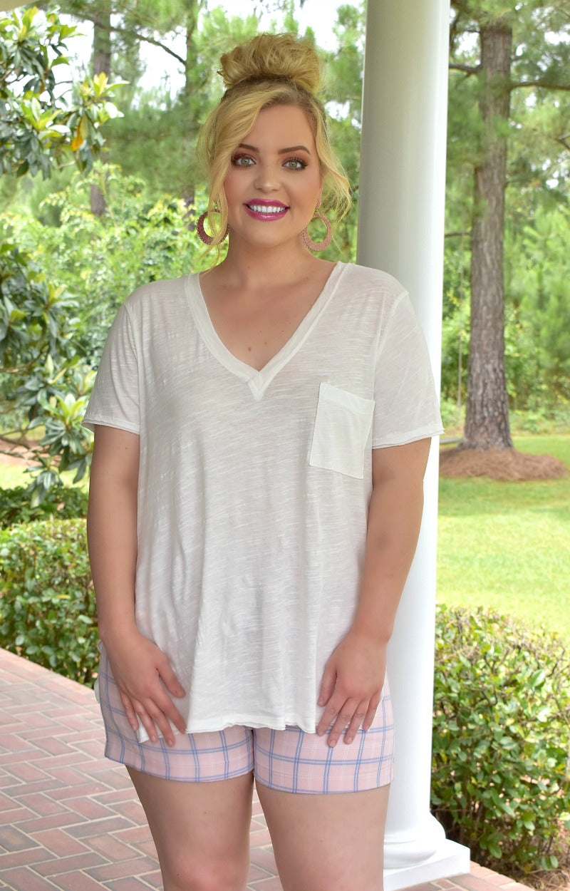 Lounging Around Pocket Tee - Ivory