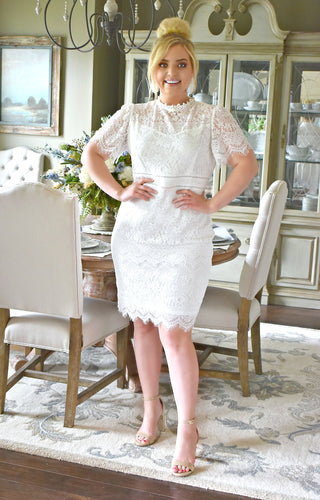 Make Time Stand Still Lace Dress - White