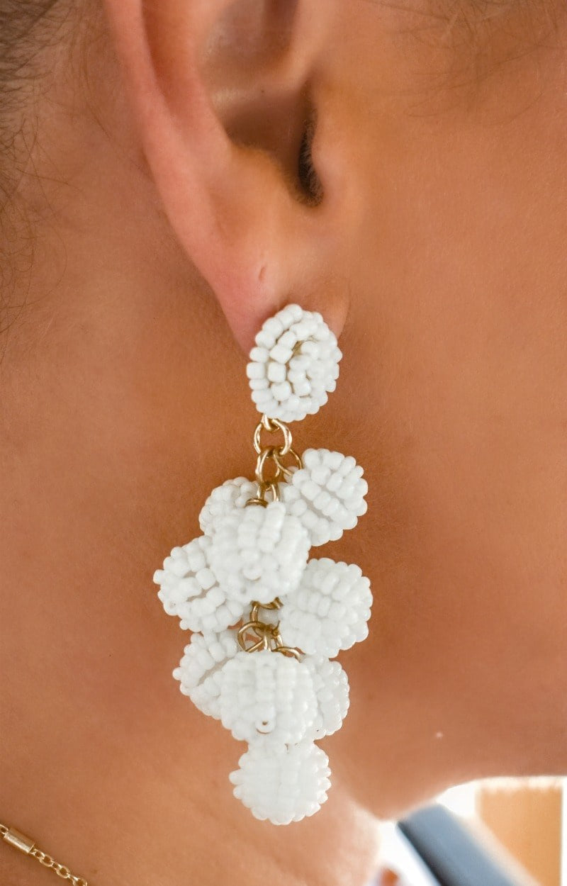 Leave Them Wanting More Earrings - White