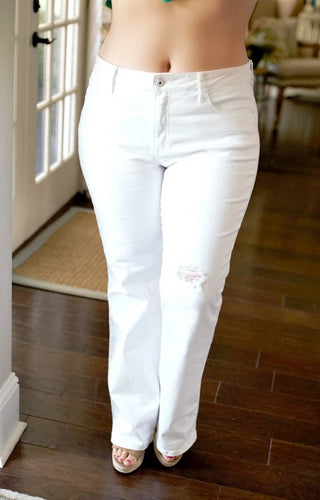 Undeniably You Mid-Rise Bootcut Jeans - White