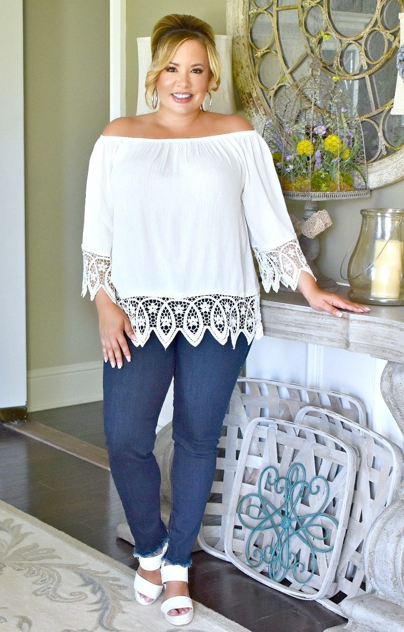 On Cloud Nine Lace Top - White