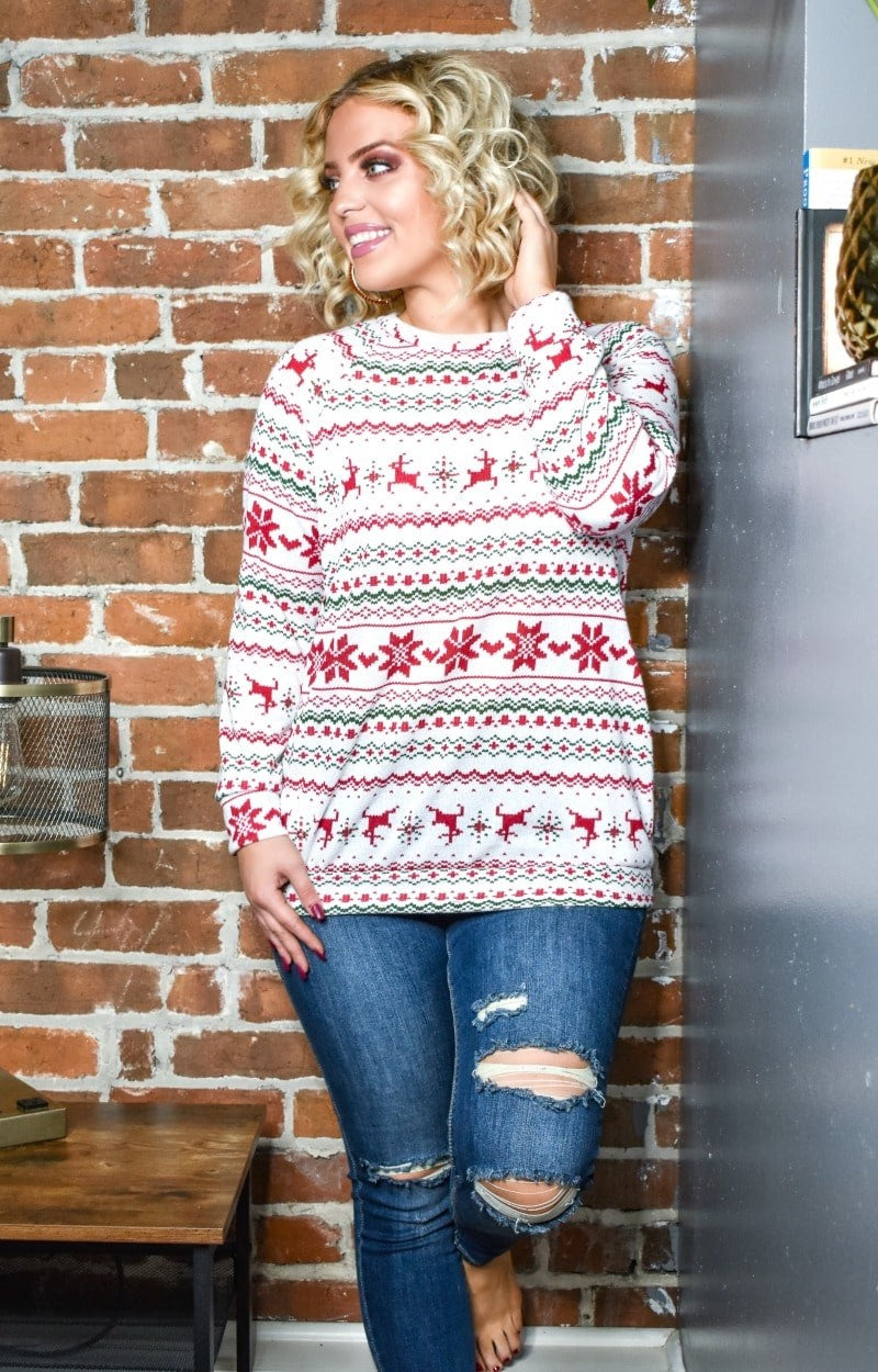 Load image into Gallery viewer, In The Holiday Mood Print Pullover