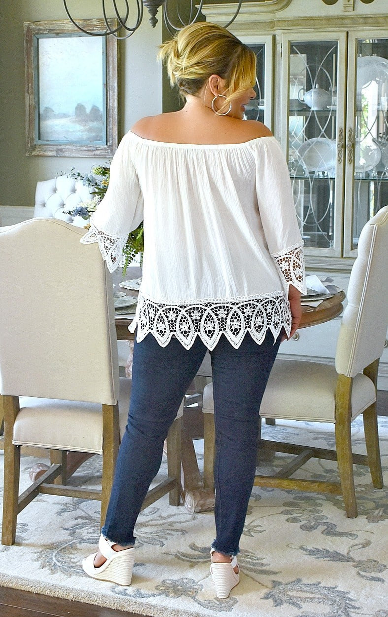 Load image into Gallery viewer, On Cloud Nine Lace Top - White