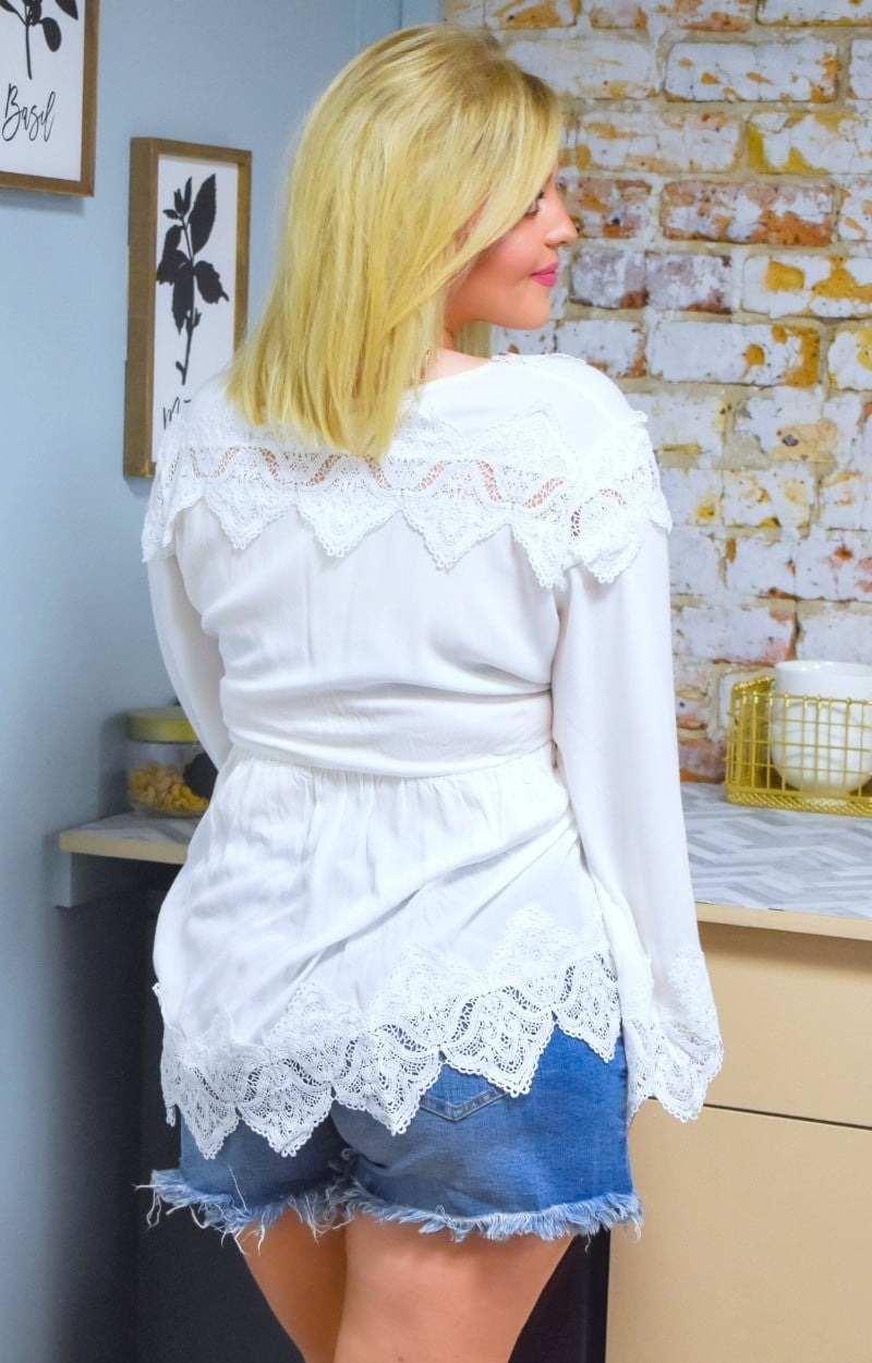 Back In Town Lace Top - Ivory