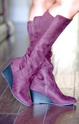 Remember Me Wedge Boots - Burgundy