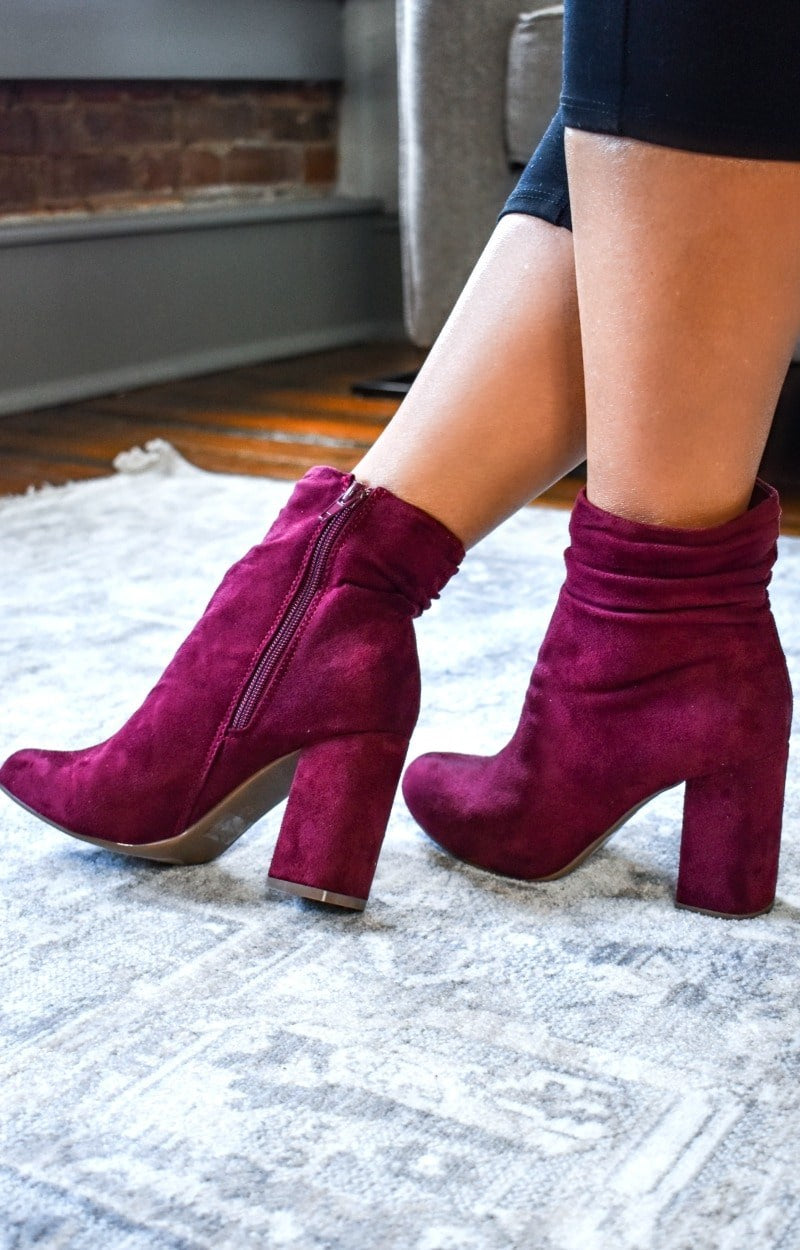Dreaming Of Forever Booties - Burgundy