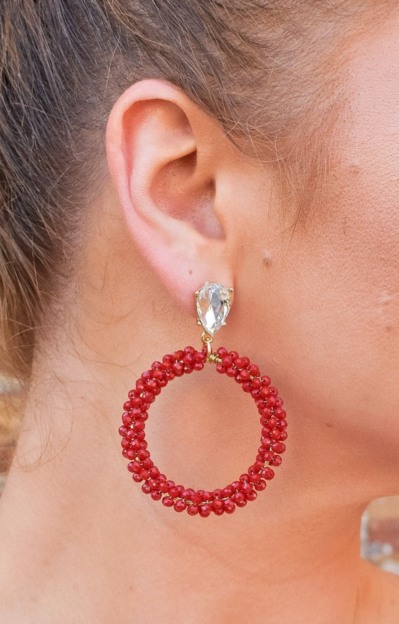 Load image into Gallery viewer, Double Trouble Earrings - Burgundy