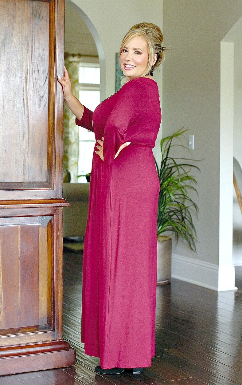 Don't Have Time Maxi Dress - Burgundy