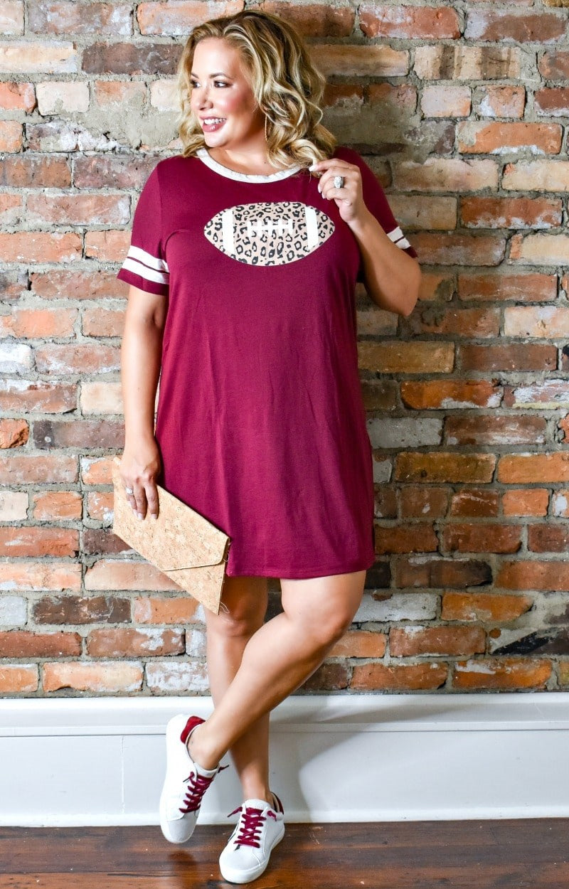 Team Spirit T-Shirt Dress - Burgundy