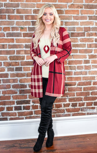 With Someone New Plaid Cardigan - Burgundy