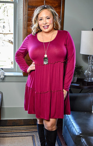 No Ordinary Day Dress - Burgundy