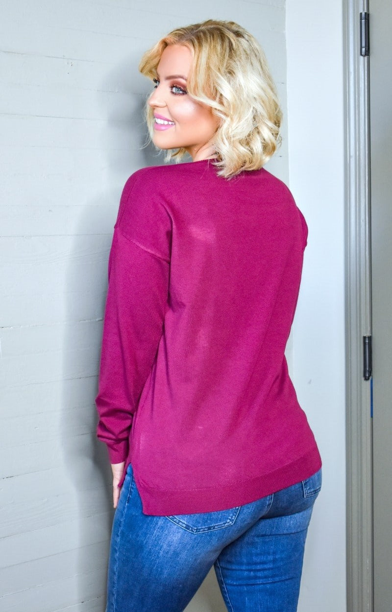 Load image into Gallery viewer, In Your Hands Sweater - Plum