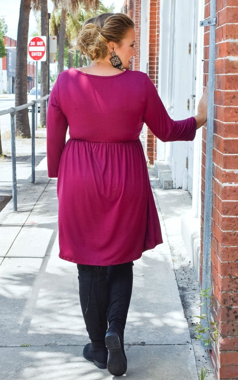 On Her Way Dress - Burgundy