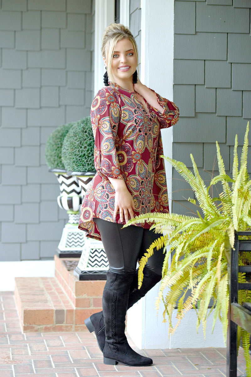 Simply Marvelous Print Top - Burgundy