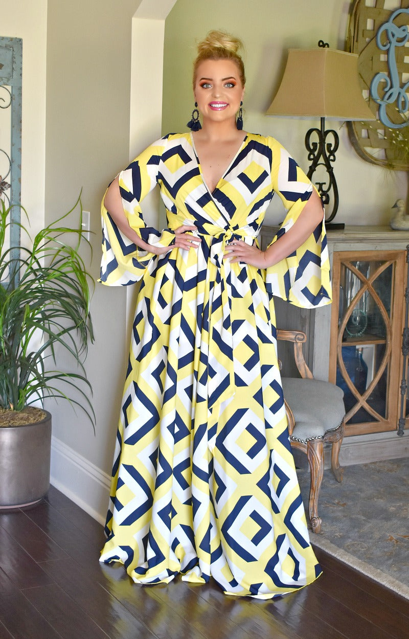 A Great Catch Print Maxi Dress - Yellow