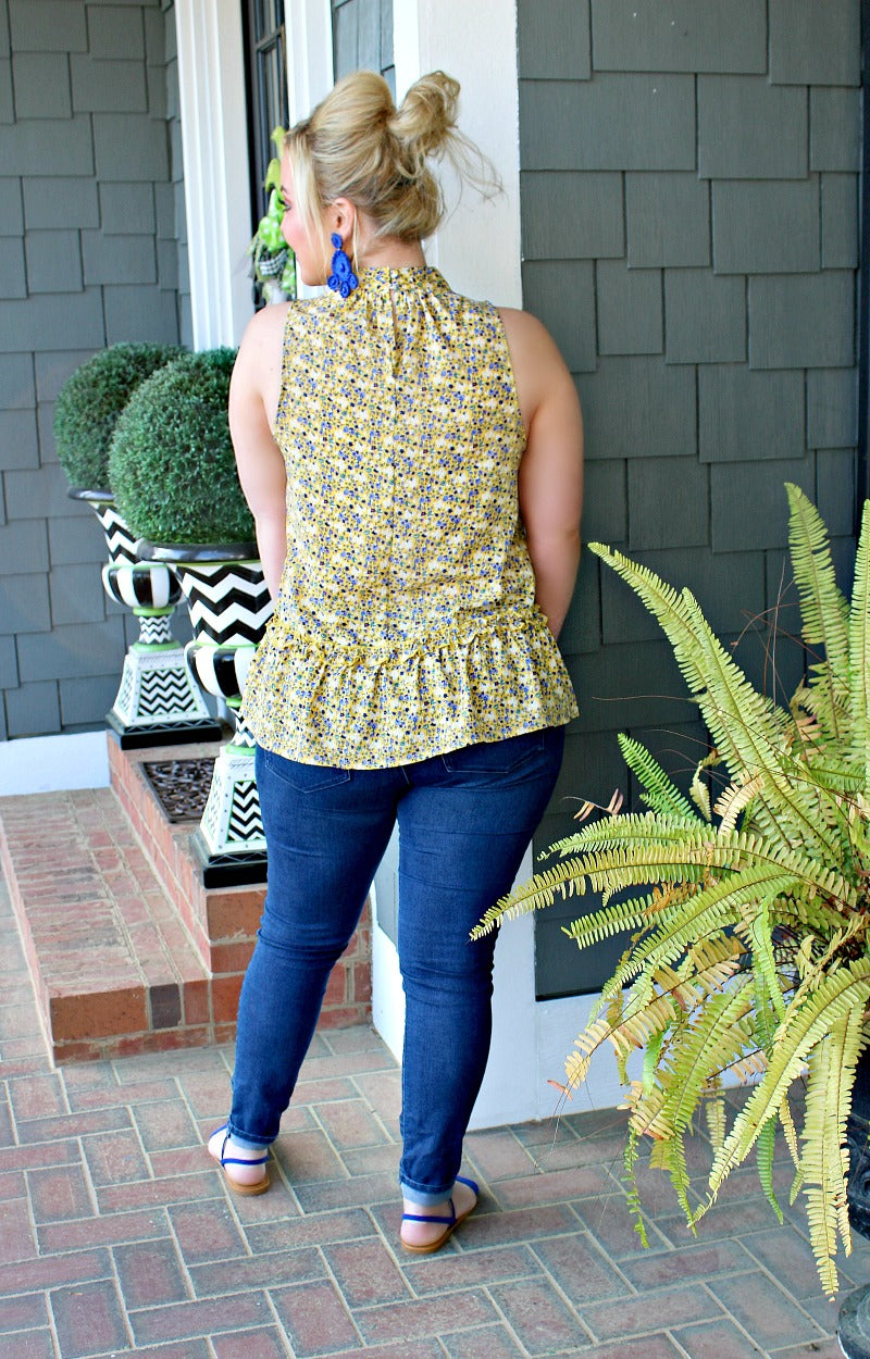 On His Mind Floral Top - Marigold