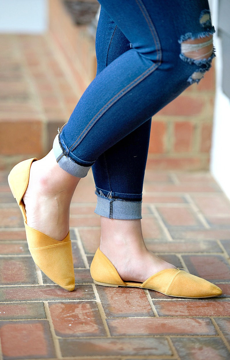 Got To Win Cutout Flats - Mustard