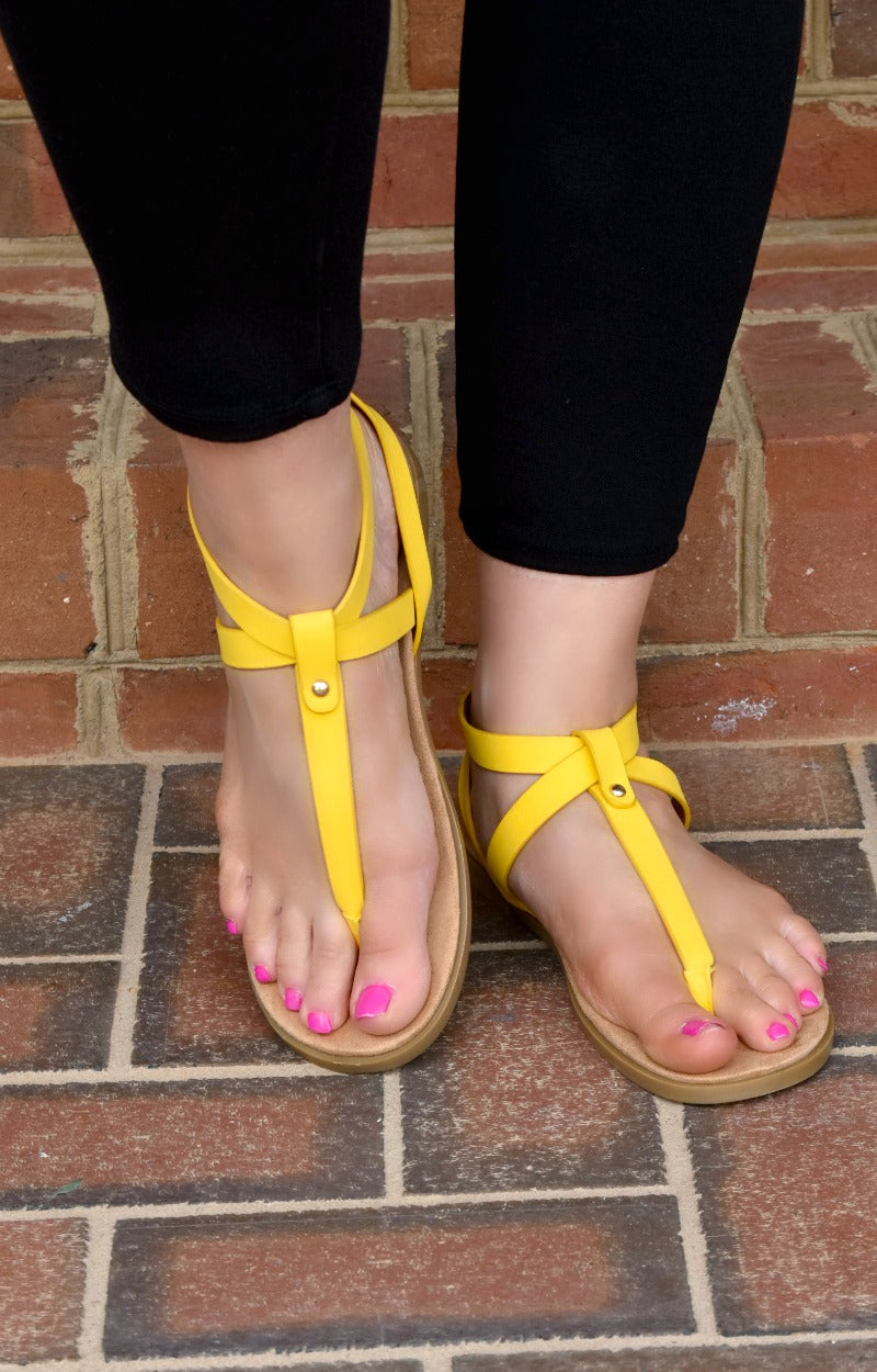 Load image into Gallery viewer, Backing It Up Sandals - Yellow