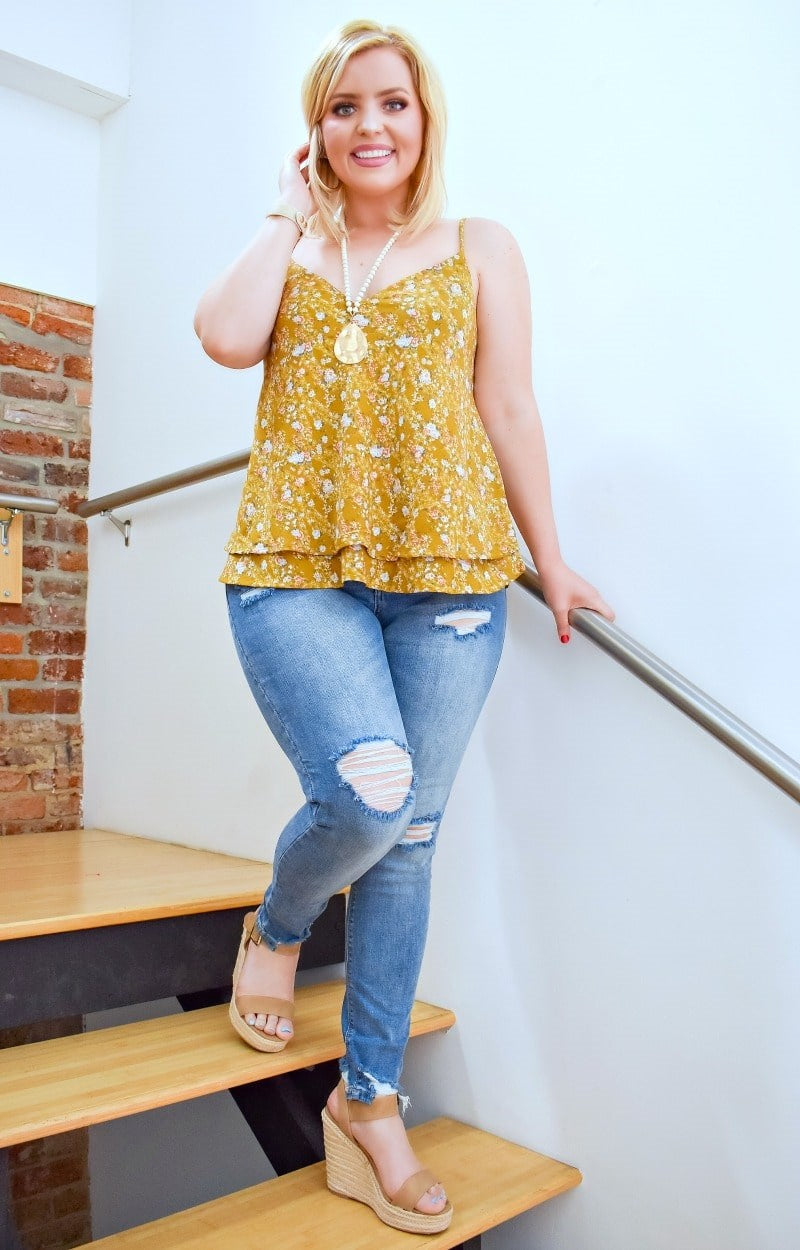 Had Your Shot Floral Top - Marigold