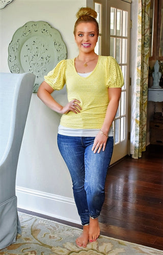Can't Stop This Eyelet Top - Yellow