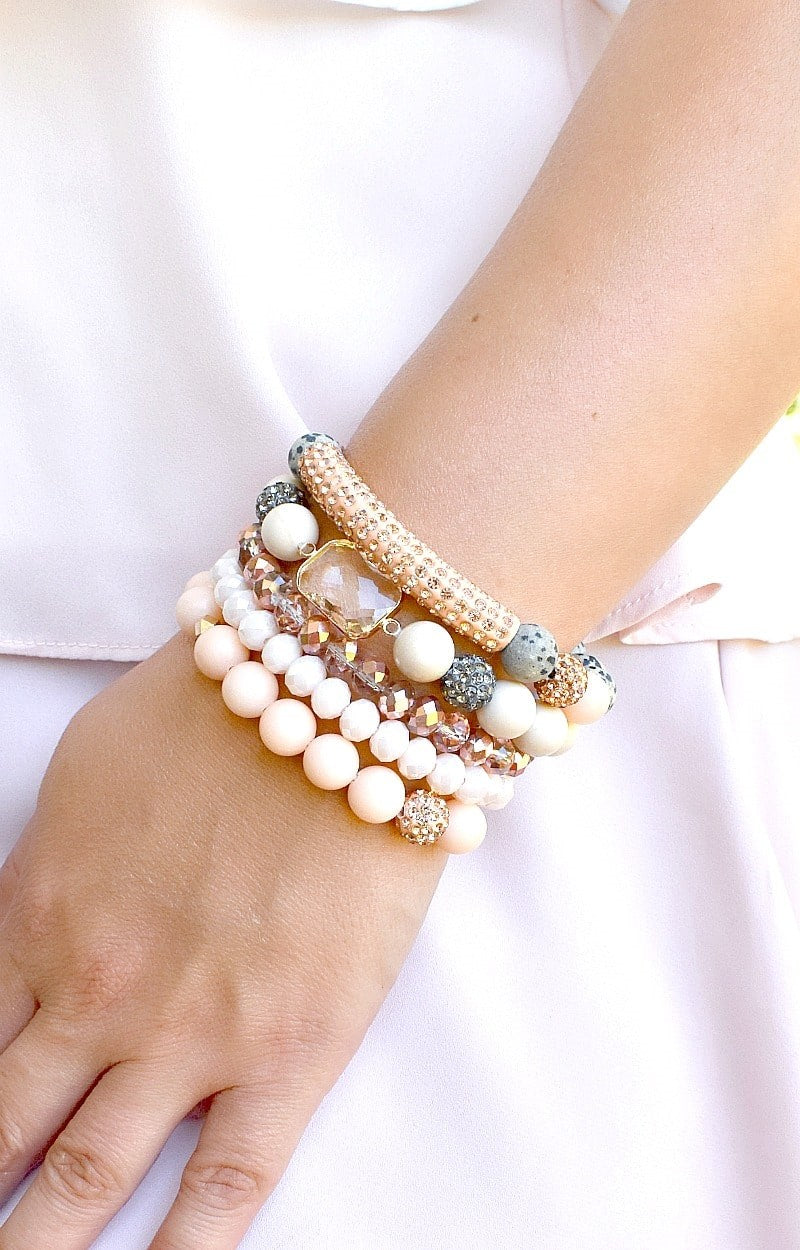 Yours Truly Bracelet Set - Peach/Cream
