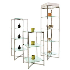 "37"" Folding Glass Tower with Chrome Finish"