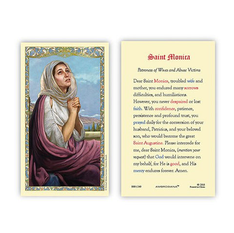 St. Monica Prayer Holy Card