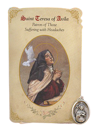 Holy Card St. Teresa Of Avila with Migraine Healing Medal Set - 6 Pcs. Per Package