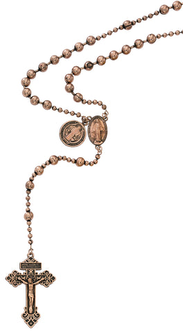 St. Benedict Medal Copper Plated Beads Rosary