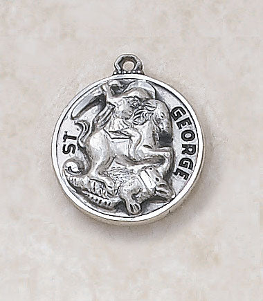 "Sterling Patron Saint George Medal w/ 20"" L Chain"
