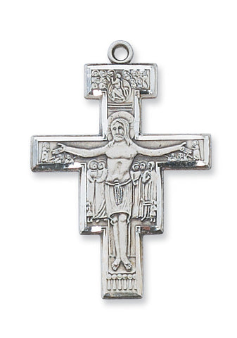"Crucifix Sterling Silver San Damiano w/ 20"" Rhodium Plated Chain"