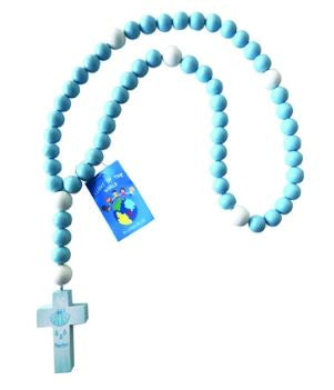 15mm Lead Free Baby Baptism Rosary w/ Large Blue Wood Beads