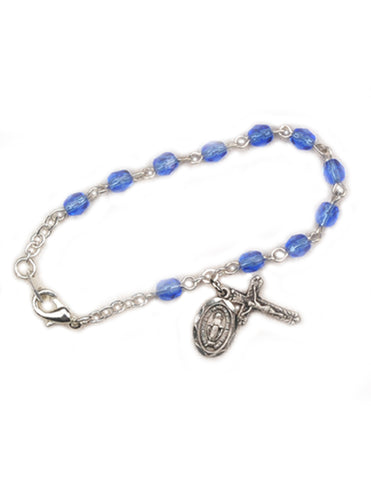 4mm Glass Beads Rhodium Plated Crucifix Blue Bracelet and Miraculous Medal