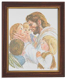 Hook: Christ With Children Ornate Woodtone Finish Frame
