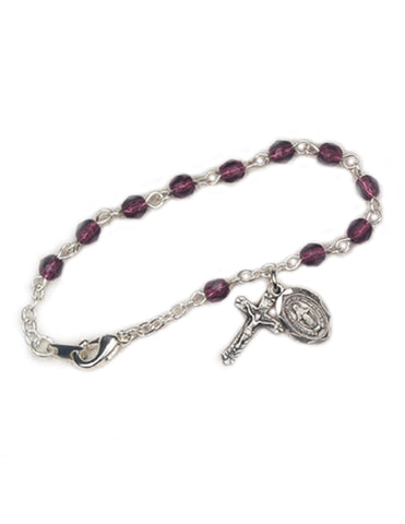 4mm Glass Beads Rhodium Plated Crucifix Dark Amethyst Bracelet and Miraculous Medal