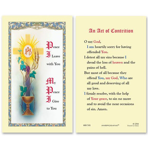 Laminated Holy Card First Communion Peace I Leave - 25 Pcs. Per Package
