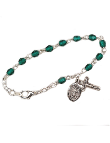 4mm Glass Beads Rhodium Plated Crucifix Emerald and Miraculous Medal