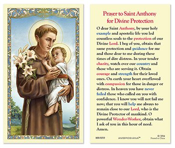 Laminated Holy Card St. Anthony - 25 Pcs. Per Package