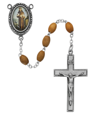 St. Francis Olive Wood Rosary