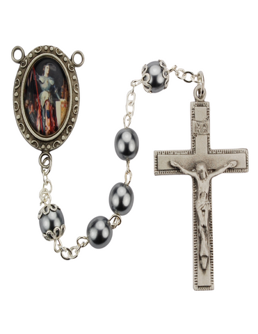St. Joan of Arc Rosary with 7mm Hematite Beads