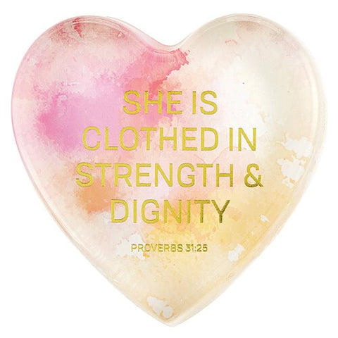 Glass Tabletop Plaque - Proverbs 31:25