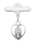 Sterling Silver Miraculous RF Baby Bar Pin w/ Burgundy Flip Gift Box