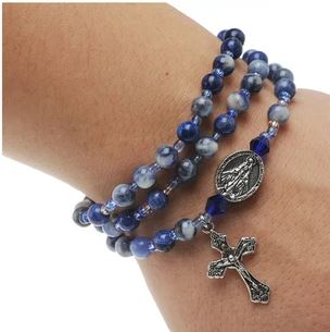 Blue Lapis Gemstone Twistable Full Rosary Wrap Bracelet