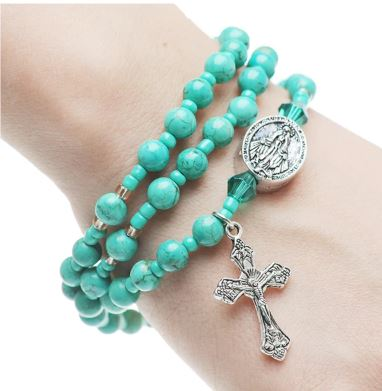 Turquoise Gemstone Twistable Full Rosary Wrap Bracelet