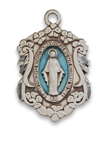 "Miraculous Medal Sterling Silver with Blue Enamel and 18"" Rhodium Plated Chain"
