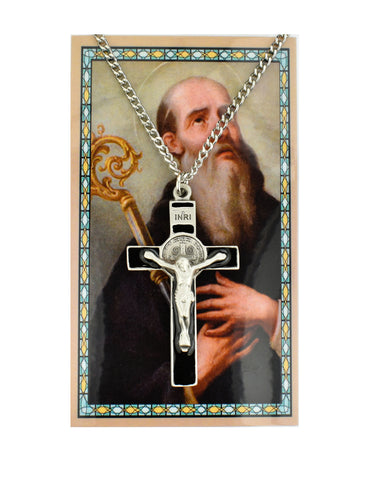 "St. Benedict Pewter Crucifix Medal w/ 24"" Silver Tone Chain and Laminated Holy Card"