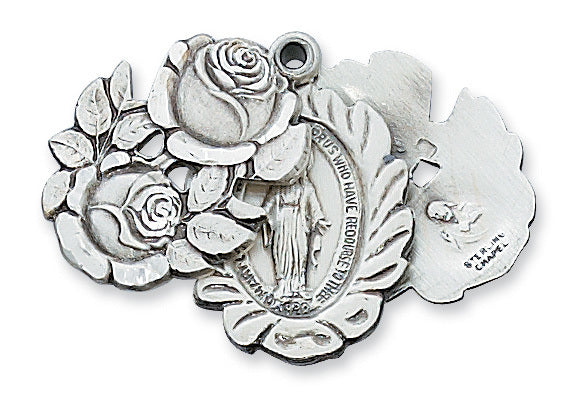 """Miraculous Medal Sterling Silver Sliding Rosebuds with 24"""" Rhodium Plated Chain"""