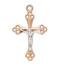 "Two-Tone Crucifix Rose Gold Over Sterling Silver w/ 18"" Rhodium Plated Chain"