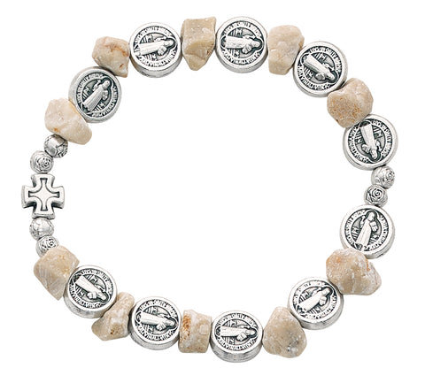 St. Benedict Medal Stone Bracelet w/ St. Benedict Booklet and Bag.