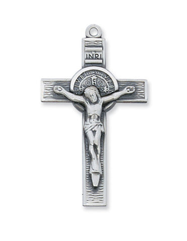 "St. Benedict Silver Coin in Silver Crucifix w/ 24"" Rhodium Plated Continuous Chain"